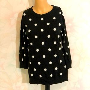 NEW YORK & CO Silver Shimmer Polka Dot Sweater S